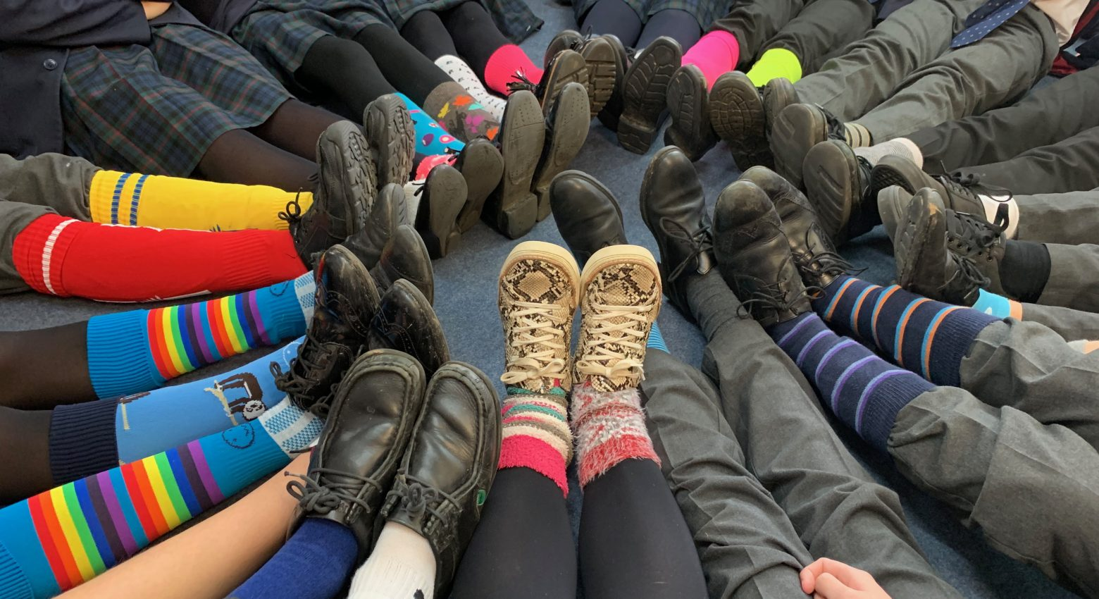 Wearing odd socks for anti-bullying week